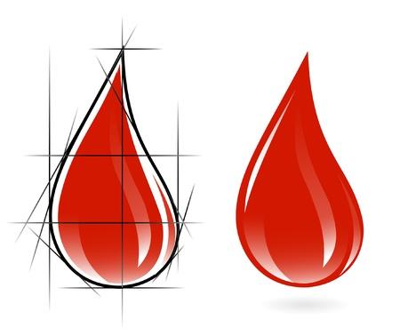 drop of blood: Sketch of blood drop