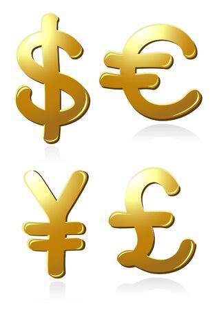 yen sign: Euro, dollar, pound and yen symbols