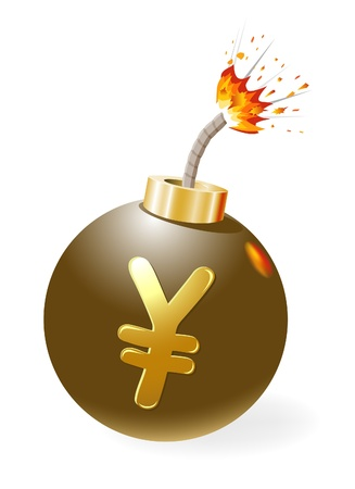 Ignited bomb with yen-symbol Stock Vector - 12298478