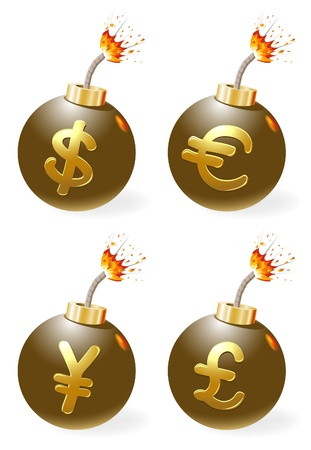 Set of ignited bombs with currency-symbols Vector
