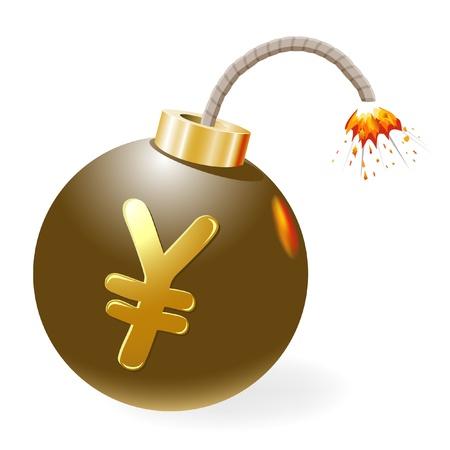 Ignited bomb with yen-symbol Stock Vector - 12298481