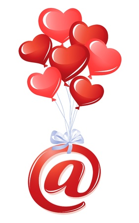 At-symbol with bunch of heart balloons