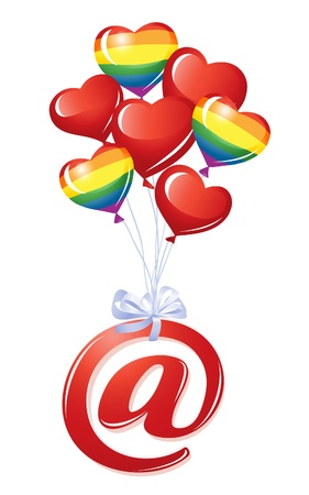 At-symbol with bunch of heart balloons Stock Vector - 12298484