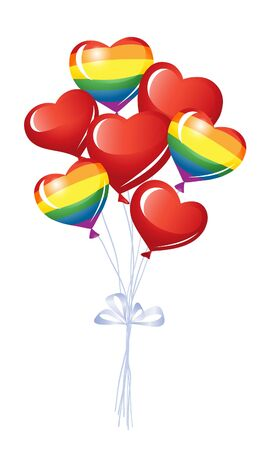 Bunch of heart balloons Vector