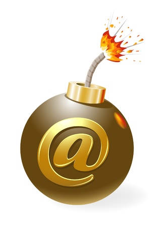 email bomb: Ignited bomb with at-symbol