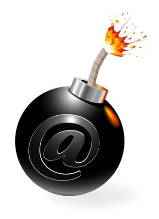 spam mail: Ignited bomb with at-symbol