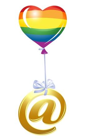 homosexuales: Al-símbolo con el globo corazón del arco iris