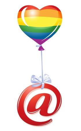 At-symbol with rainbow heart balloon Vector