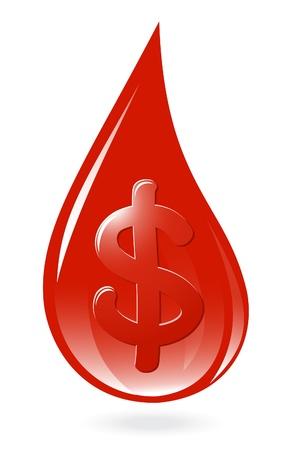 Blood drop with dollar symbol Stock Vector - 12300907