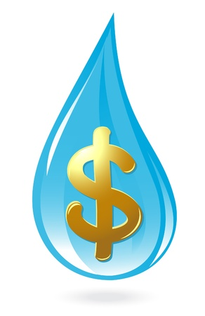 gold money: Water drop with dollar symbol