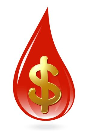Blood drop with dollar symbol Vector