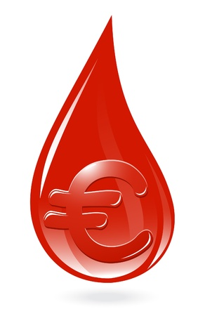 Blood drop with euro symbol Vector
