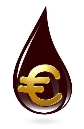 Oil drop with euro symbol Vector