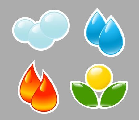 cuatro elementos: Cuatro elementos. Fuego, agua, aire, suelo. Vectores