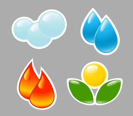 four elements: Four elements. Fire, water, air, ground.