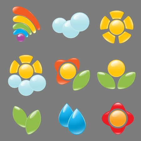Garden and weather icon set Vector