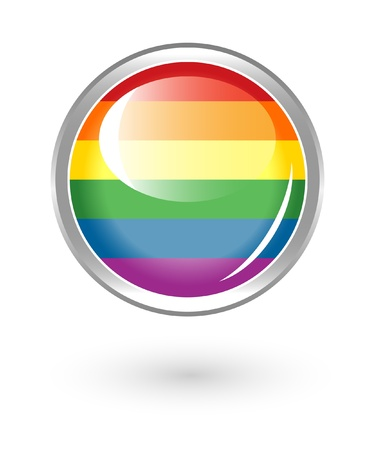 gay pride flag: Rainbow button Illustration