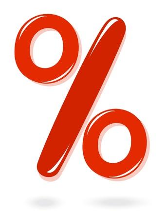 procent: Red percentage symbol