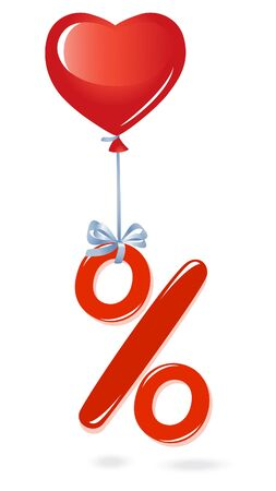 procent: Red percentage symbol with heart balloon