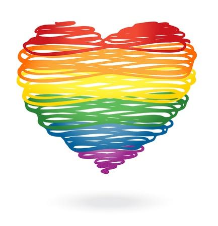 Rainbow heart Иллюстрация