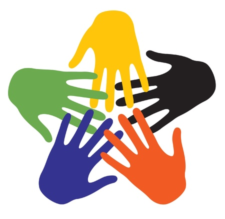 support group: Hand signs with the colors of the five continents Illustration