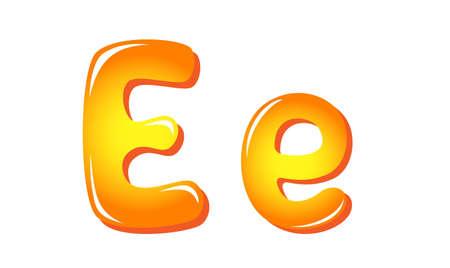e alphabet: Alphabet letters in sun colors E