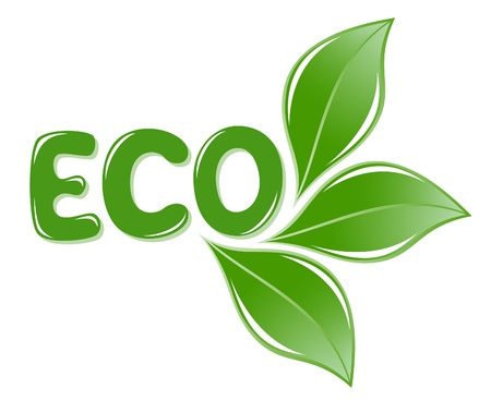 Eco texte avec des feuilles Banque d'images - 12928443
