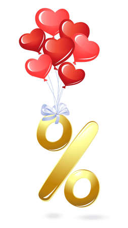 Gold percentage symbol with heart balloons Vector