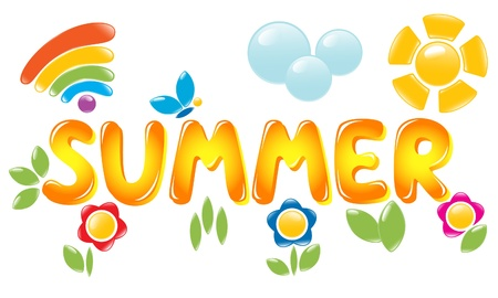 cartoon summer: Summer letters Illustration
