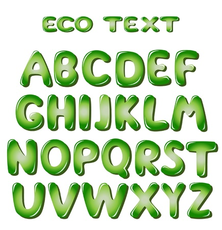 bubble letters: Alphabet letters in green colors