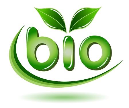 grün: Bio Schild mit Blättern