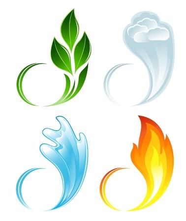 Los cuatro elementos de la vida Ilustración de vector