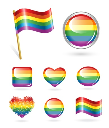 gay parade: Set of rainbow buttons