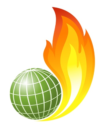 Abstract globe with fire flames Stock Vector - 12928308
