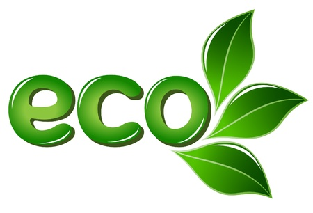 Eco sign with leafs Vector