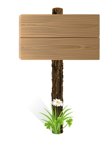 Blank wooden sign board with grass Vector