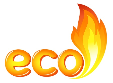 fireballs: Eco sign with fire flames
