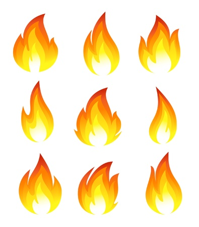 Collection of fire icons Vector