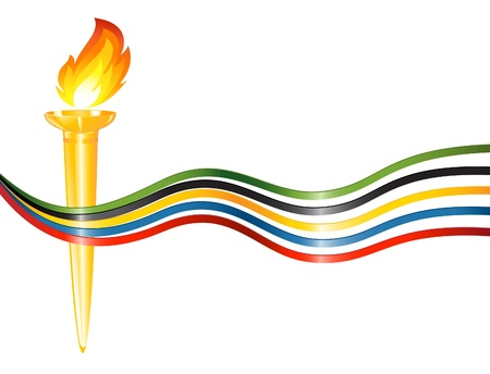 lines game: Torch with the colors of the five continents