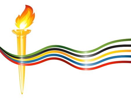 ruban noir: Torche avec les couleurs des cinq continents Illustration