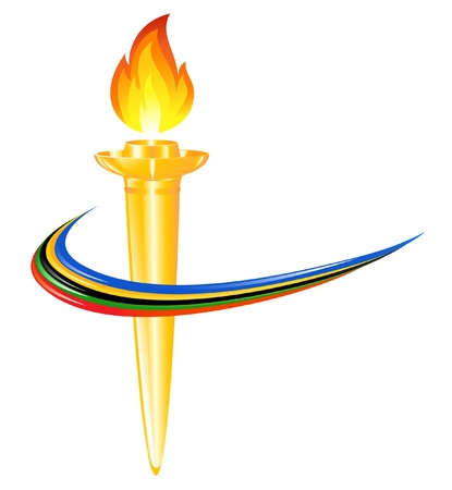 Torch with the colors of the five continents Vector
