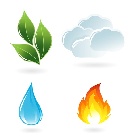 four objects: The four elements of life Illustration