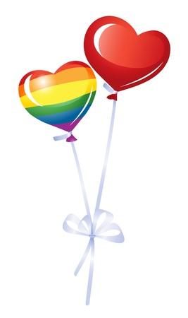 lesbianas: Dos globos de corazón, corazón del arco iris