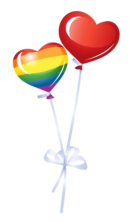 lesbians: Two heart balloons, rainbow heart Illustration