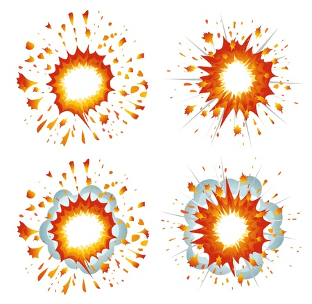 bomb: Set of explosions Illustration