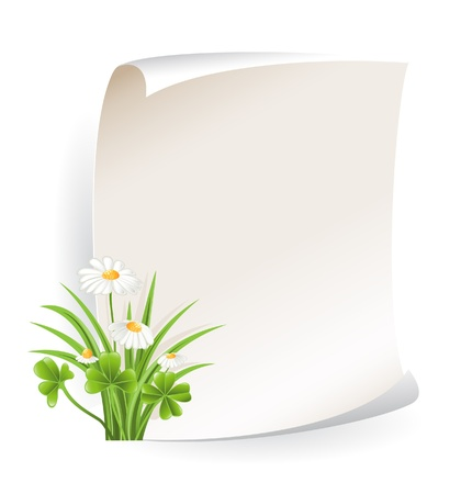 Paper banner with flower Vector