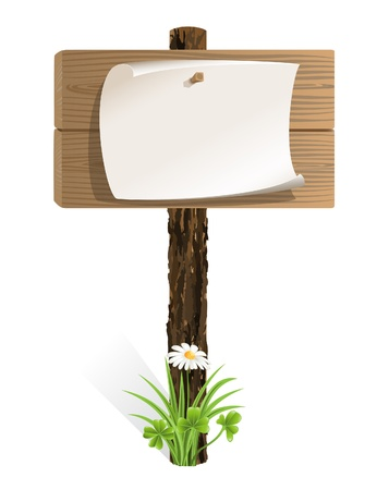Blank wooden sign with paper wrapped and grass Vector