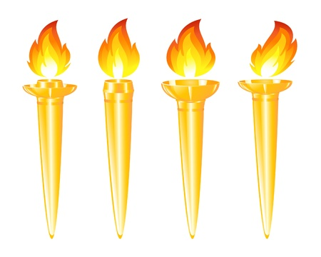 Set of golden torches Vector