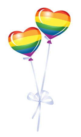 lesbian girls: Two heart balloons, rainbow heart Illustration