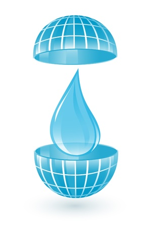 Blue globe with water drop Vector